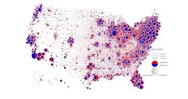Une carte des résultats de 2016 où les votes sont représentés de façon proportionnelle.