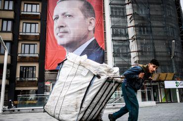 Une affiche géante d'Erdogan à Istanbul