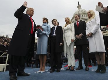 Donald Trump lors de sa prestation de serment le 20 janvier 2017.