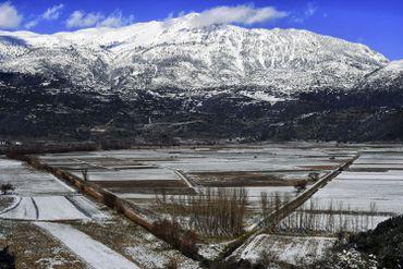 Environs du lac Stymphale, près de Corinthe, sous la neige, le 08 janvier 2019