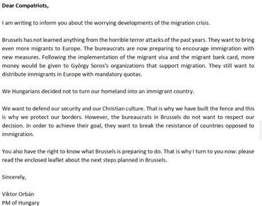 La lettre de Viktor Orban