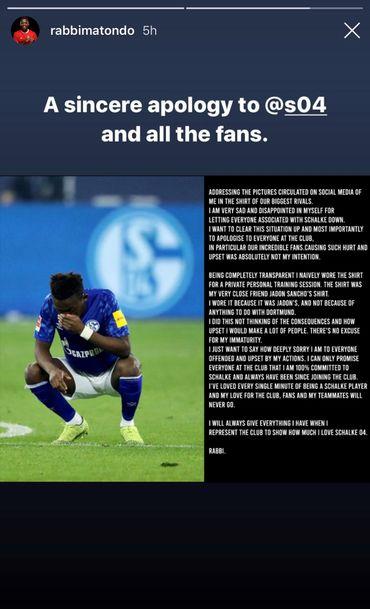 """Les """"excuses sincères"""" de Matondo à Schalke 04 et ses supporters"""