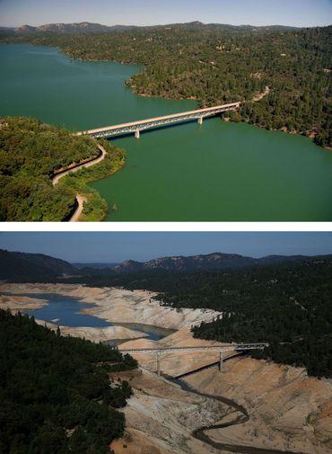 """Vues du """"Green Brigde"""" sur le Lac d'Oroville le 20 juillet 2011 et le 19 août 2014."""