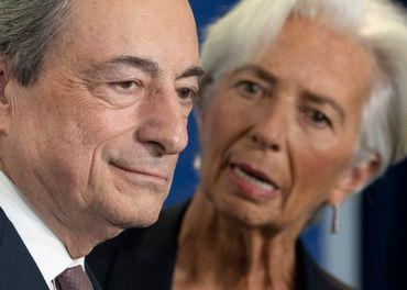 Mario Draghi, l'ancien président de la BCE, et Christine Lagarde, qui lui a succédé, le 28/10/19