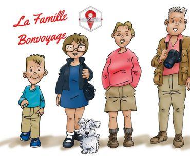 La Famille Bonvoyage , c'est Bertrand, Rose-Marie, Sharleen, Baptiste ...et Ginny, compagnon à 4 pattes!