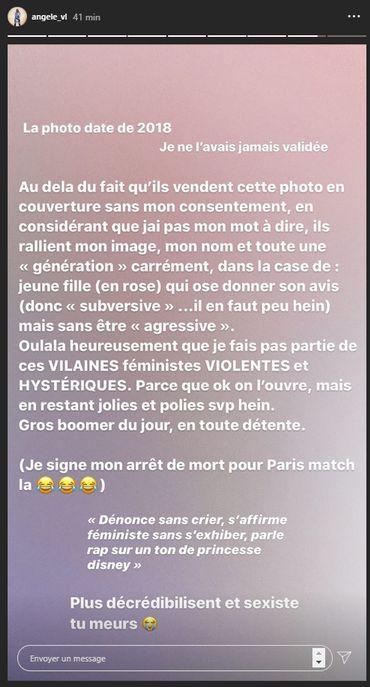 Angèle dénonce la couverture sexiste que Paris Match lui a consacrée