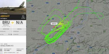 """Le parcours de """"ABB343T"""", avion de la compagnie Air Belgium, dans le ciel de Liège ce 6 mars 2018."""