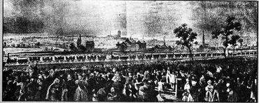 Inauguration de la première ligne de chemin de fer Bruxelles-Malines, à l'Allée verte en 1835