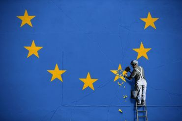 La fresque illustre le Brexit