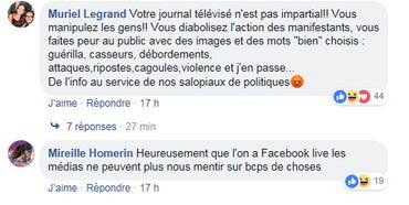 Sur la page Facebook RTBF Info, des messages illustrent la méfiance à l'égard de la couverture du mouvement des gilets jaunes par la RTBF