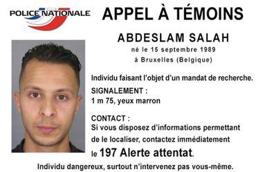 L'avis de recherche diffusé par la police fédérale à l'encontre de Salah Abdeslam