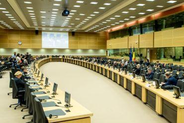 Réunion européenne au Palais d'Egmont en juin 2020 au sujet de la fermeture des frontières dans le cadre de la crise du coronavirus.