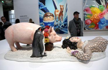 """Jeff Koons condamné pour une contrefaçon du cochon des publicités Naf-Naf : l'oeuvre """"Fait d'hiver"""""""