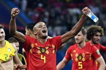 La joie de Kompany après la victoire de la Belgique contre le Brésil.