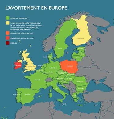 Droits des femmes: la situation en Europe concernant l'avortement (carte)