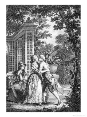 Le premier baiserparNicolas Monsiau, inNouvelle Héloïse,Œuvres de Jean-Jacques Rousseau, Paris, Defer de Maisonneuve, 1793-an VII