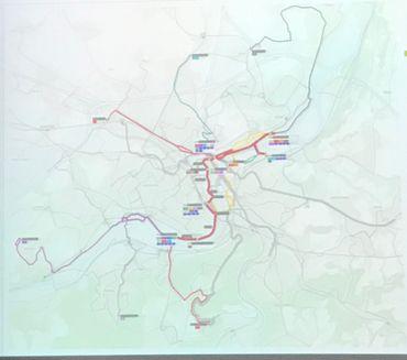 En jaune, l'actuel 4: la boucle, c'est fini, mais il va traverser le quartier Saint-Léonard