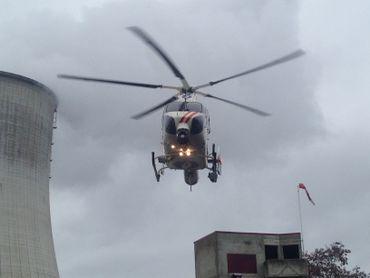 L'hélicoptère de la police équipé d'une caméra thermique.