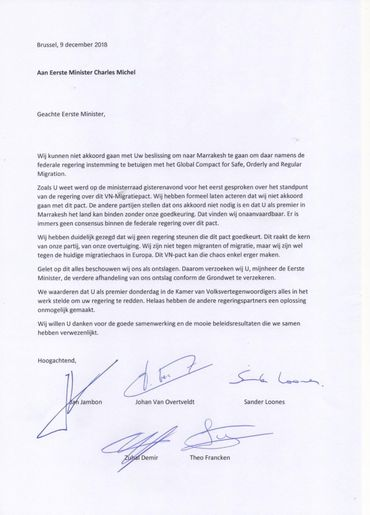 Voici le contenu intégral de la lettre de démission des ministres N-VA