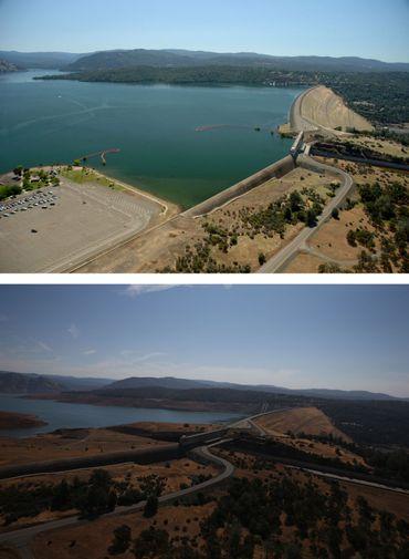 Vues du barrage du Lac d'Oroville le 20 juillet 2011 et le 19 août 2014.