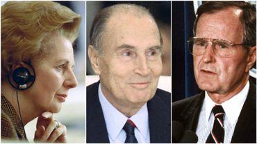Margaret Thatcher, François Mitterrand et George Bush senior en 1990.