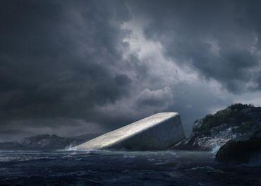 On peut voir que le bâtiment démarre hors de l'eau pour aller plonger dans la mer, jusqu'à cinq mètres de profondeur.