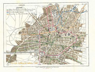 Plan du réseau de transport de Bruxelles en 1874.
