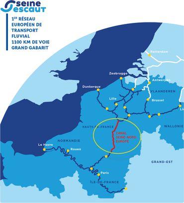 Carte des aménagement pour la liaison Seine-Escaut