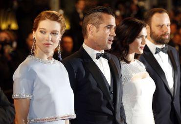 """Lea Seydoux, Colin Farrell, Rachel Weisz et le réalisateur Yorgos Lanthimos lors de la présentation de """"The Lobster"""" à Cannes"""