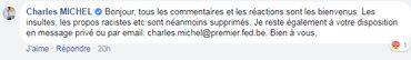 Une réponse à un internaute sur la page Facebook de Charles Michel.