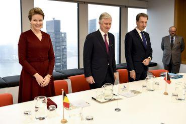 La reine, le roi et le ministre des Affaires étrangères Philippe Goffin à New York