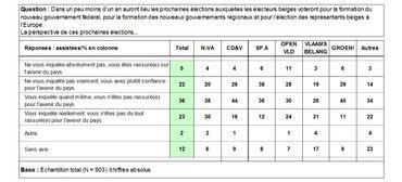 Niveau d'appréhension des Flamands envers les prochaines élections