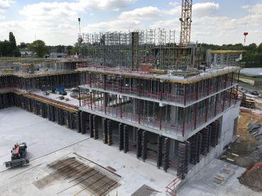 Le chantier du CBTC à Louvain-la-Neuve. Photo prise en mai dernier.