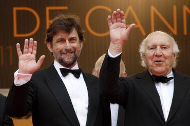 """Nanni Moretti et le comédien français à Cannes en 2011, pour la présentation d'""""Habemus papam"""""""