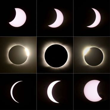 Les phases de l'éclipse totale du soleil