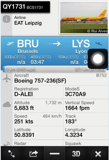 Les Boeing 757 de DHL ont suvolé Bruxelles de nuit à plusieurs reprises ce 13 août