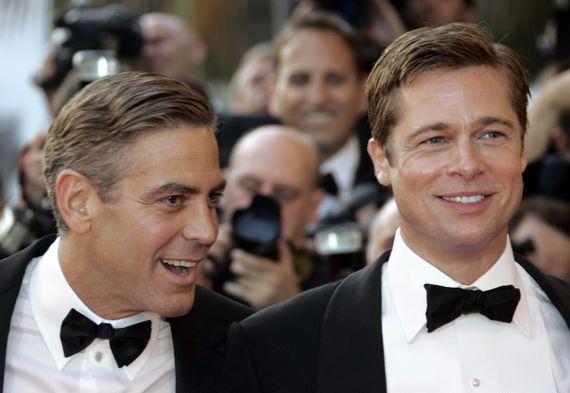 """Brad et Georges, pour la promo de """"Ocean's 13"""" en 2007"""