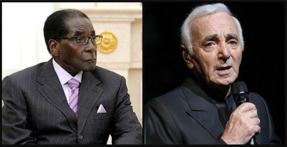 Mugabe et Charles Aznavour