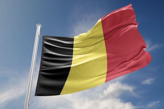 Belgium Flag is Waving Against Blue Sky