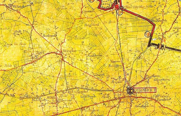 """Layout of the """"Iron Curtain"""" near Turnhout  - See the article by A. Vanneste, quoted in the notes. ©"""