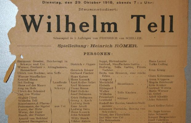 """Wilhelm Tell"" by Friedrich von Schiller  Poster for the last German performance at the Théâtre de la Monnaie, on 29 October 1918... i.e. two weeks before the signing of the Armistice.  - Archives of the City of Brussels ©"