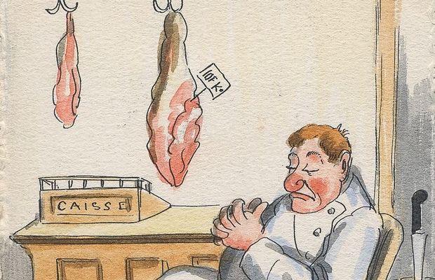 Carte postale humoristique. À leur arrivée en Belgique, les Allemands mettent rapidement des restrictions à l'exportation de toute une série de marchandises : à commencer par la nourriture!  - Collection privée, M. Bertholot ©