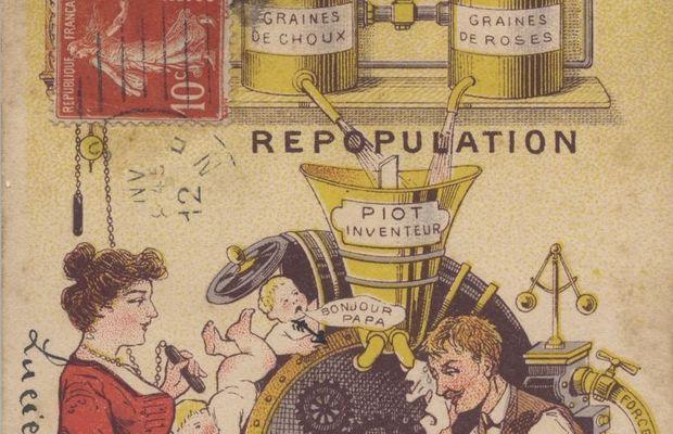 Carte postale humoristique sur le problème de la natalité  - Collection privée, M. Freddy Billiet ©