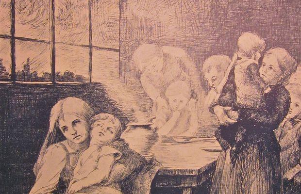 A table avec la peur de la faim En 1915, la Province de Luxembourg a publié un livre illustré avec des poèmes, des récits et des explications concernant les programmes officiels du CNSA. Cette illustration fait partie de cette publication: Soupe de guerre installée par M. Léon Thiry dans les localités éprouvées du sud luxembourgeois. Province du Luxembourg.  - Tous droits réservés ©