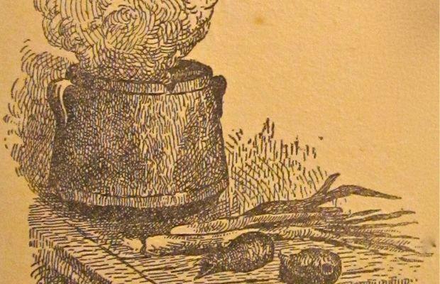 La bonne soupe: la base d'une alimentation économique de guerre En 1915, la Province de Luxembourg a publié un livre illustré avec des poèmes, des récits et des explications concernant les programmes officiels du CNSA. Cette illustration fait partie de cette publication: Soupe de guerre installée par M. Léon Thiry dans les localités éprouvées du sud luxembourgeois. Province du Luxembourg.  - Tous droits réservés ©