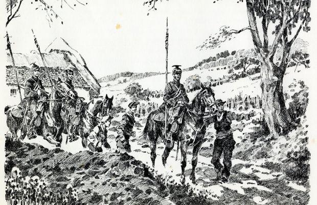 """Lancers on patrol – August 1914""   Illustration by the Belgian artist James Thiriar, taken from his work ""Gloire et misère au Front de Flandre 1914-1918"", Brussels-Paris, Van Oest & Cie, 1920, p. 1  - All rights reserved ©"