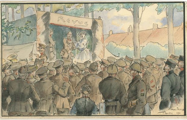 "James THIRIAR, ""Au feu de la rampe"" (In the spotlight), pencil and watercolour, Flanders, 1916  - Royal Museum of the Army and Military History, Inv. N° KLM-MRA : 803729 ©"