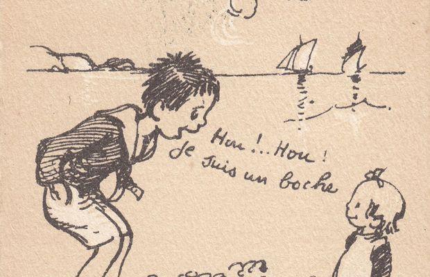 """Hou !.. Hou ! Je suis un boche ! - Tu retardes... ça ne fait plus peur. Le célèbre dessinateur français Francisque Poulbot (1879-1946) dédramatise la peur du """"boche"""" dans un de ses célèbres dessins. Editeur A. Ternois.  - Collection privée, Nicolas Mignon. ©"""