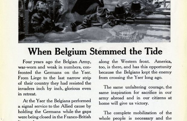 """When Belgium stemmed the tide""   Bell Telephone advert, using the example of the Belgian resistance for patriotic purposes, and confirming the company's support for the American war effort. Advertisement from a magazine of the day. Private collection, Nicolas Mignon.  - All rights reserved ©"