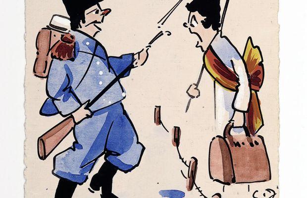 """La grippe espagnole ! 1918. """"On ne passe pas !"""" dit un soldat belge d'opérette, déjà enrhumé, à une grippe personnifiée sous les traits d'une dame à l'air revêche, prétendument habillée """"à l'espagnole"""". Probablement réalisée dans les tous premiers temps de l'épidémie, cette carte postale bruxelloise dessinée à la main ne laisse en rien présager de l'horreur de la pandémie.  - ©Bibliothèque royale de Belgique ©"""